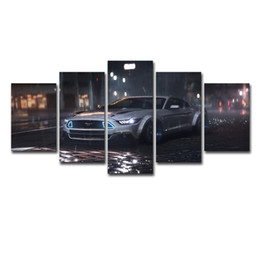 Framing Canvas Prints Australia - Modular Canvas Poster Wall Art Framed Modern Pictures HD Printed 5 Pieces Ford Mustang Car Painting Home Decor For Living Room