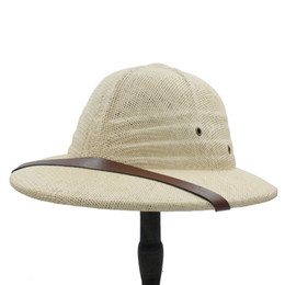efd5263ec790c Safari hatS men online shopping - Novelty Toquilla Straw Helmet Pith Sun  Hats For Men Vietnam
