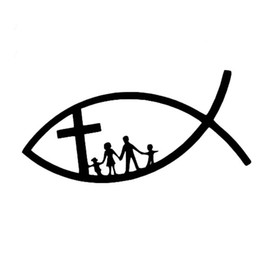 Car deCal family online shopping - 14cm cm Funny Christian Fish Creative Classic Jesus Family Cross Church Vinyl Car Sticker Decals