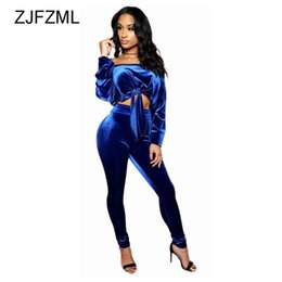 Royal Blue Lace Jumpsuit UK - ZJFZML Royal Blue Off Shoulder Velvet 2 Piece Set Jumpsuit Full Sleeve Lace Up Short Top and Empire Long Bodycon Rompers