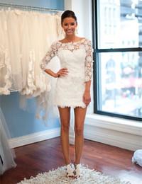 Beautiful Beach Pictures Canada - The most beautiful lace applique neckline mini short wedding dress lovely lace wedding dress 2018 sleeves beach wedding dress
