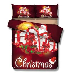 Discount 3d christmas bedding sets - 2018 hot sale Christmas joy Santa happy gift foreign trade 3D bed four piece set 1 pcs