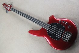 Bass guitar red Black online shopping - Factory Custom Metal Red Strings Electric Bass Guitar with Chrome Hardwares Black Pickguard Rosewood Fretboard Can be Customized