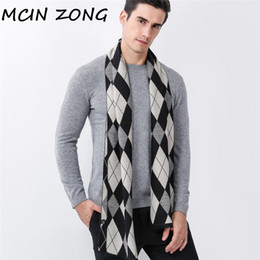 $enCountryForm.capitalKeyWord NZ - Winter Plaid Men Scarves Scarf Thick Thermal Men's Scarf Warm Cotton Cashmere Wool Blended Brushed Checkered Knit Male