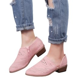 Woman Shoes Low Heels NZ - Original New Arrival Shoes Women Zip Vintage Chunky Shoes Low Heels Thick Heel Short Ankle Hollow