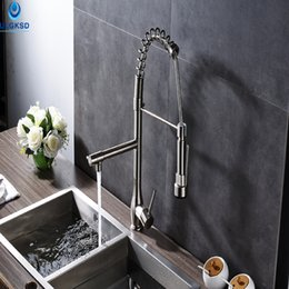 high quality kitchen taps NZ - Ulgksd High Quality Brushed Nickle Kitchen Sink Faucet Pull Down Sprayer Deck Mount Kitchen Sink Faucet With Mixer Water Taps