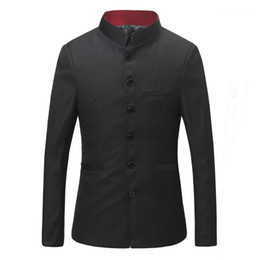 Discount suit chinese male - Men Stand Collar Chinese Tunic Suit Coat+Pants Male Blazer Chinese Traditional Party Men Business Suit Slim Custom Fit 1