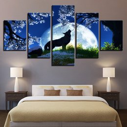 Art Canvas Prints Australia - Wall Art Frame Canvas Pictures Modern HD Printed 5 Pieces Animal Wolf Full Moon Flower Tree Landscape Painting Poster Home Decor