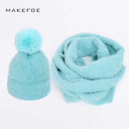 Chinese  2018 New fashion Angora wool knit beanies hat scarf 2 Pieces Set winter adult children Parent-child Soft cap warm scarves pompom manufacturers