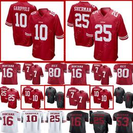 10 Jimmy Garoppolo 7 Colin Kaepernick San Francisco 49ers Jersey Men 25 Richard  Sherman 16 Joe Montana 80 Jerry Rice 53 Bowman Jerseys 6 595d40a71