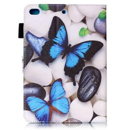 Ipad Tablet Stands NZ - Cartoon Butterfly Cover PU Leather Case For Ipad Mini 1 2 3 4 Tablet Smart Case Flip Flexible Stand Slim Cover+Stylus Pen+Film.