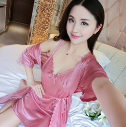 7247e6c0d1 2018 hot sale Women Bud silk Nightdress Summer sexy ladies all-light ice  silk gown two-piece embossed bathrobe home service