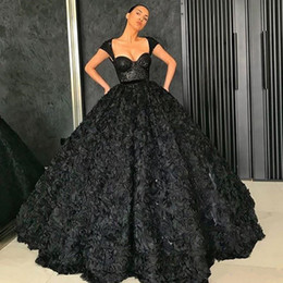 Discount lavender fluffy prom dresses - Black Sequined Sweetheart Neckline Prom Dresses Sexy Sleeveless Ball Gown Robes De Soiree Glamorous Fluffy Celebrity Pro