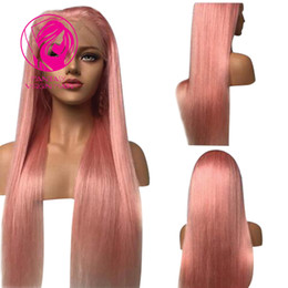 Freestyle Hair Australia - Fantasy Cute Pink Color Lace Front Wig Brazilian virgin Human Hair Wigs With Baby Hairs Straight Lace Wig Freestyle for Women