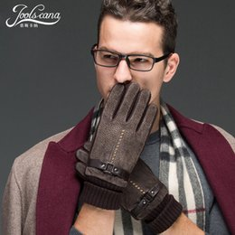 Black Leather Tactical Gloves NZ - Joolscana winter gloves men driving leather gloves tactical warm hand Non-slip black brown mittens fashion warm