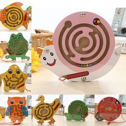$enCountryForm.capitalKeyWord NZ - Kids educational Wooden Magnetic Maze Board Puzzle Toy Cute Frog Snail Shape Mini Metal Balls Moving Labyrinth Intellectual Jigsaw Board Toy