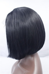 cheap middle part wigs 2019 - hot sell Middle part BLACK synthetic wIGS lace front wigs high temeprature fiber marley fashion high quality cheap bob w