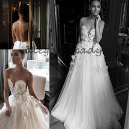 Wholesale Illusion Jewel Sweetheart Embellished Ruched Bodice Wedding Dresses Elihav Sasson Bridal Gown D Rose Flower Floor Length Wedding Gowns