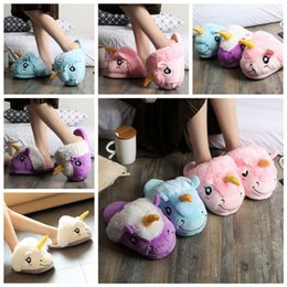 Discount warm slipper shoes - 4styles Unicorn Plush cartoon Slippers soft Parents kids Winter warm Indoor Home Shoes Warm Soft Cotton cute Shoes FFA12