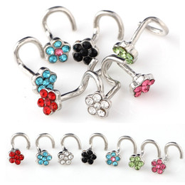 $enCountryForm.capitalKeyWord NZ - Body piercing accessories, European and American hot sell bending rod, stainless steel belt drill, various color nose studs.