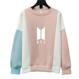 Pink Clothing Women UK - Fashion Harajuku Kpop BTS GOT7 EXO We Are One K Pop Clothes Kawaii Pink Blue Patchwork Hoodie Sweatshirts Women Pullovers Tops