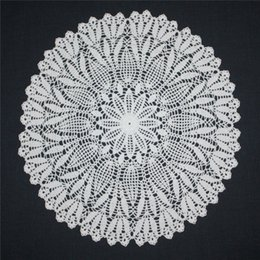 white round tables NZ - Large Crochet Doily, White Doily, Lace Round Doilies, Cotton Doily, Lace Tablecloth, Table Topper, 20 inches