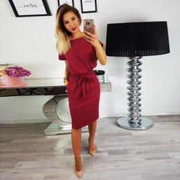 52cd63ad15 Women Pencil Skirts For Work Australia - Women Solid Color Pocket Dress  Fashion Lace Round Neck