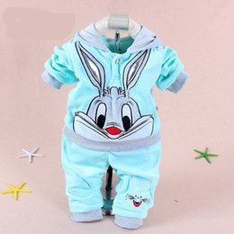 Cartoon Rabbit Hoodies Australia - Hot Baby Clothing Set 2015 Spring Autumn Baby's Set Cartoon Rabbit Boys Girls Clothes Twinse Suits Hoodie Pant Children Clothing