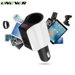 Discount usb power port for car - Onever Car Cigaree Lighter Socket Dual USB Car Quick Charger 2 Port Power Adapter for iPhone iPad 2.1A Charging Mobile P