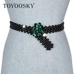 Discount crystal chain belts - TOYOOSKY 2018 New Fashion Women Belt Faux Pearl Faux Crystal Rheinstone Foral Chain Belt for Women For Dress Handmake Kn