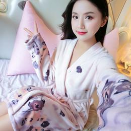 384f1463db Ladies Thick Warm Winter Bathrobe Print Women Flower Flannel Kimono Bath  Robe Bridal Wedding Bridesmaid Robes Dressing Gown