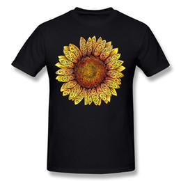 Mélange Commander Homme 100% Coton Swirly Tournesol T Shirts Homme Tee Shirt Manches Courtes Bleu Marine Grande Taille Casual T-Shirts