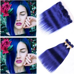 Discount dark blue human hair weave - Silky Straight Dark Blue Ear to Ear 13x4 Full Lace Frontal Closure with Weaves 3Pcs Colored Blue Peruvian Virgin Human H