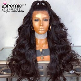 $enCountryForm.capitalKeyWord Australia - Premier 180% Density Top Quality 360 Lace Wigs Indian Remy Hair Body Wave Pre-plucked Bleached Knots Deep Lace Parting Human Lace Wigs