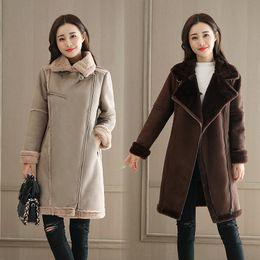 lamb suede 2019 - Winter Coats For Women 2018 Brand New Thicken Warm Suede Parkas Female Fashion Long Coat Jacket Ladies Wool Lamb Zipper