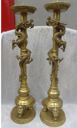 "Pure Light Candles Australia - 25"" Tibet Temple Pure Brass Dragon Head Statue China Candle Stick Holder Pair"