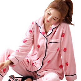 480d38b5c4 New Winter Pajamas Thick Warm Flannel Women Pajamas Set Long Sleeve  Turn-down Collar Soft Plus Size Female Pyjamas Nightshirt