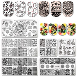 $enCountryForm.capitalKeyWord NZ - BORN PRETTY Floral Lace Nail Stamping Plate Rec Square Unicorn Cartoon Butterfly Swan Template Nail Art Stamp Image Plate