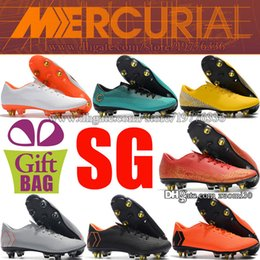ef802a6be Steel Spikes Leather Soccer Shoes Boots Mercurial Vapor XII Pro SG Football  Boots Superfly CR7 Neymar Football Cleats Cristiano Ronaldo Shoe
