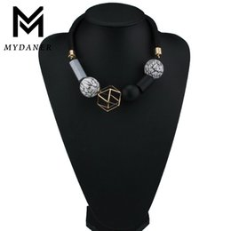 China 2017 New Fashion Geometric Vintage Choker Wood Beads Necklaces & Pendant Jewelry Ethnic Bohemian Black Rope Necklace for Women supplier geometric wood necklace suppliers