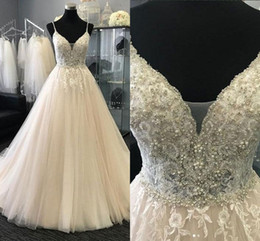 white rhinestone sleeveless shirt Australia - 2018 Spaghetti Wedding Dresses A-line Lace AppliqueTulle Rhinestones Beaded Draped Open Back Party Dresses For Bride Bridal Dress