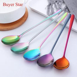 long spoon stainless NZ - Hot 2PC Korean Soup Rainbow Spoon 18 10 Stainless Steel Eco-Friendly Dinner Spoon Dinnerware Set Long Handle Salad