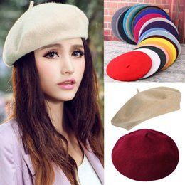 blue felt hat 2018 - Elegant Lady Women Wool Felt Warm French Classic Beret Beanie Slouch Hat Cap Tam cheap blue felt hat