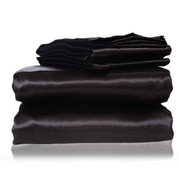 Chinese  2017 new silk Flat Sheet Fitted Sheet Pillow Cases Twin Full Queen King Sizes Nestl Bedding Set with Deep Pocket Black manufacturers