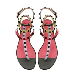 8adc1f67acc0ec Hot Sale Fashion Design Flip Flops Rivet Studded T-tied Buckle Strappy Open  Toe Flat With Gladiator Casual Women Summer Sandals Plus Size