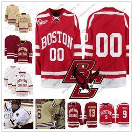 b9fe72166 Benutzerdefinierte Boston College Eagles Hockey   4 Michael Kim 5 Casey  Fitzgerald 10 Christopher Brown Genäht beliebige Nummer Name Rot Weiß  Trikots S-4XL