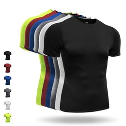 xxxl running shorts 2019 - Brand Men Running T-Shirts Sports Tights Breathable Training Sport Tops Cycling Basketball Running Gym Short Sleeves T S