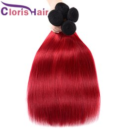 Two Colored Hair Extensions NZ - High Quality Colored 1B Red Human Hair Extensions Silky Straight Malaysian Virgin Ombre Weaves Cheap Two Tone Red Ombre Bundles Deals 3pcs