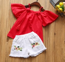 3eb62e748 gilrs summer suits girls off-shoulder sleeveless tops red yellow T shirts + girls white shorts suit girls set kids clothes