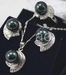 $enCountryForm.capitalKeyWord Australia - Elegant 10mm Black Round South Sea Shell Pearl Pendant Necklace Earring Ring Set